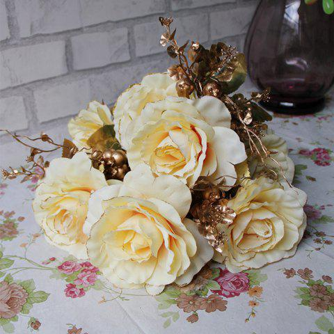 Chic Home Living Room Party Decoration Vintage Artificial Flowers - YELLOW  Mobile