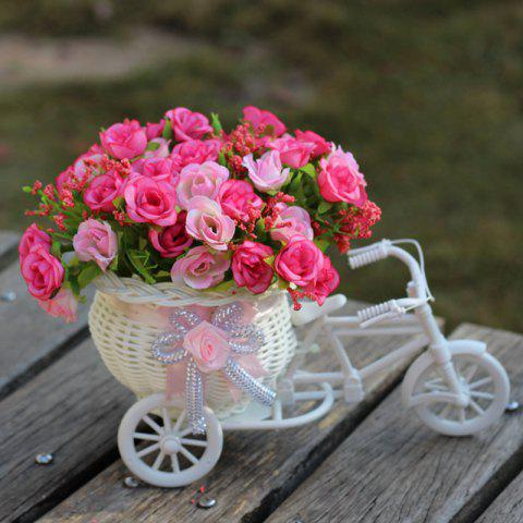 Chic Home Living Room Decoration Artificial Flowers With Basket Bike