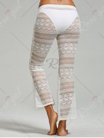 Outfit Palazzo Crochet Lace Beach Pants - S WHITE Mobile