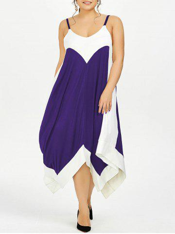 Plus Size Handkerchief Flowy Two Tone Slip Dress - Purple - Xl