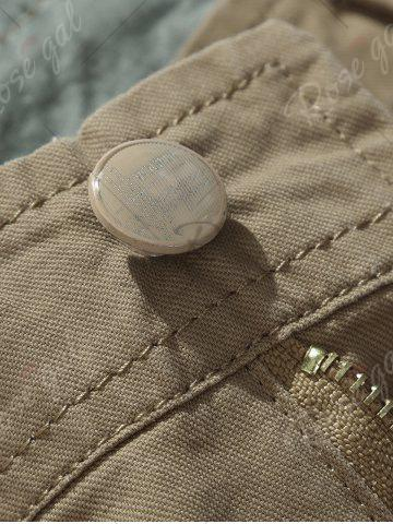 Hot Zipper Fly Chino Cargo Shorts - 32 ARMY GREEN Mobile