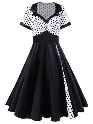 Plus Size Polka Dot Panel Vintage Swing Dress - White And Black - 2xl