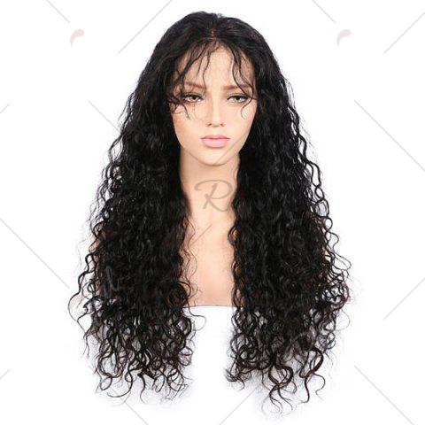 Cheap Free Part Long Kinky Curly Lace Front Synthetic Wig - BLACK  Mobile