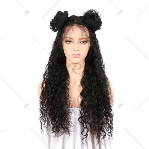 Fashion Free Part Long Kinky Curly Lace Front Synthetic Wig - BLACK  Mobile