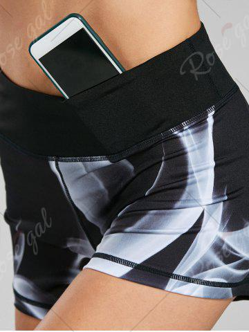 Fancy Quick Dry Lights Printed Mini Fitness Tights - S BLACK Mobile