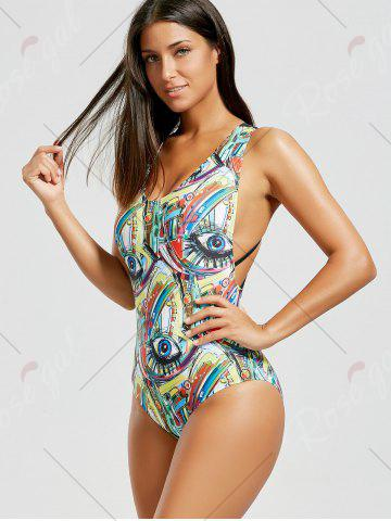 Discount Printed Criss Cross Backless Swimsuit - S COLORMIX Mobile