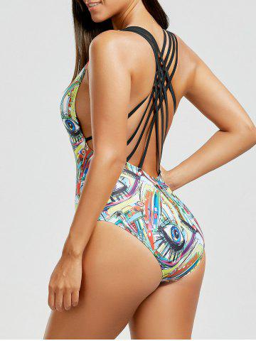 Outfit Printed Criss Cross Backless Swimsuit - S COLORMIX Mobile