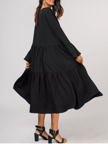 Flare Sleeve Tiered Midi Dress