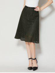 High Waist A Line Lace Skirt - ARMY GREEN