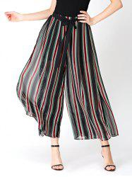 Striped Chiffon Wide Leg Pants with Lace Lining