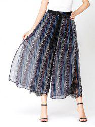 Print Chiffon Wide Leg Pants with Lace Lining