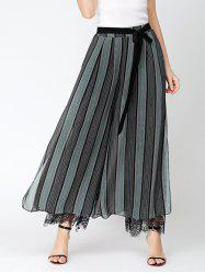 Belted Chiffon Wide Leg Pants with Lace Lining