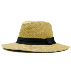 Ribbon Straw Woven Fedora Hat - EARTHY