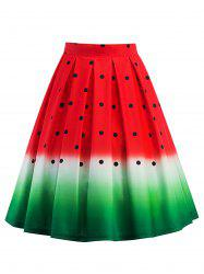Knee Length A Line Watermelon Print Skirt - RED