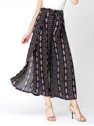 High Split Bohemia Rhombus Wide Leg Pants