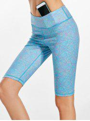 Line Drawing Midi Waist Fitness Leggings - LAKE BLUE M