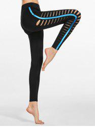 Side Cutout Distressed Metallic Yoga Leggings