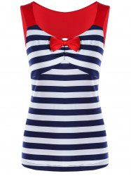 Striped Empire Waist Open Back T-shirt