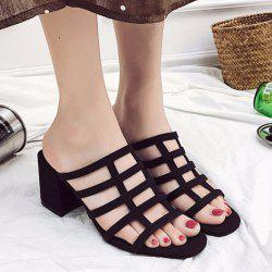 Chunky Heel Caged Slides
