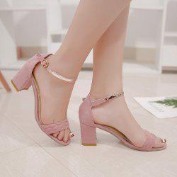 Ankle Strap Woven Block Heel Sandals