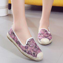 Mesh Espadrilles Flower Pattern Flat Shoes