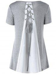 Split Effect Contrast Lace Up Top - GRAY
