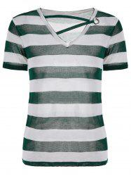 V Neck Short Sleeve Knit Striped Top