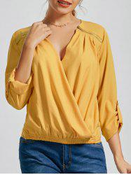 Long Sleeve Zipper V Neck Wrap Blouse