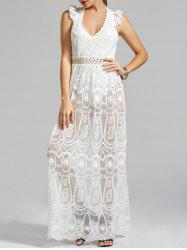 Crochet Lace Trim Low Cut Sheer Jumpsuit