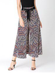 Bowknot Belted Print Wide Leg Pants