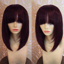 Medium Neat Bang Straight Bob Synthetic Wig - WINE RED