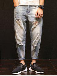 Faded Distressed Harem Nine Minutes of Jeans