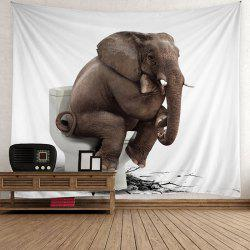 Wall Hanging Toilet Thinking Elephant Tapestry - Gris