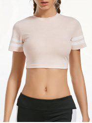Contrast Crew Neck Active Crop T-shirt - LIGHT APRICOT PINK
