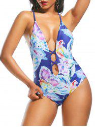 Plunging Neckline Backless Print One Piece Swimwear