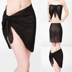 Beach Bikini Sarong Wrap Cover Up Scarf - BLACK