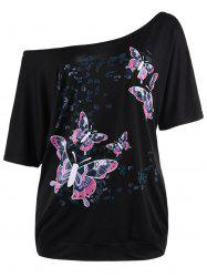 Plus Size Skew Collar Butterfly Print Top