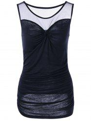 Twist Front Ruched Sleeveless Sheer T-shirt