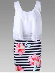 Floral with Striped Tight Popover Dress - WHITE L