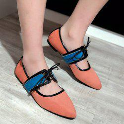 Contrast Color Pointed Flat Shoes
