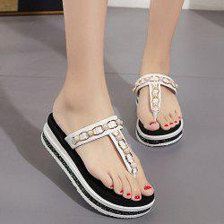Beaded T Strap Platform Slippers - WHITE