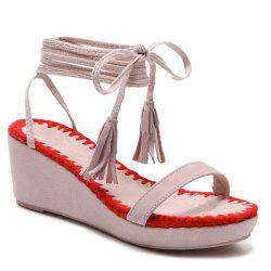 Color Block Tie Up Wedge Heel Sandals