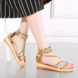 Zipper Metallic Color Rhinestones Sandals
