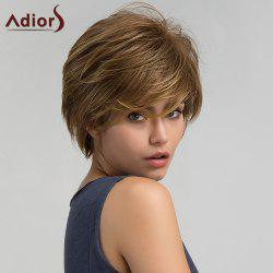 Adiors Short Side Bang Layered Shaggy Straight Synthetic Wig - COLORMIX