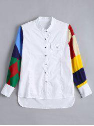 Pocket Button Up Color Block Shirt