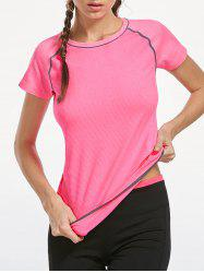 Breathable Raglan Sleeve Gym T-shirt - PINK