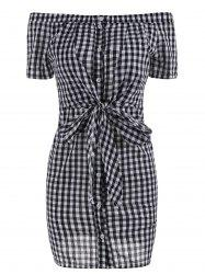 Plaid Off The Shoulder Bowknot Mini Dress