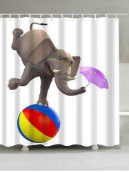 Waterproof Elephant Playing Ball and Umbrella Shower Curtain