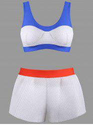 Color Block Mesh Boyshorts Bikini Set