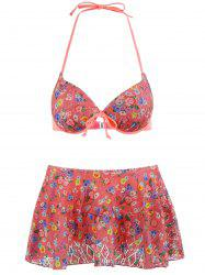 Halter Floral Skirted Bikini Set